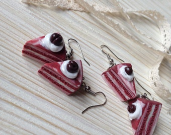 Cake Earrings Miniature Food Jewelry Polymer Clay Food Handmade Gift Girl