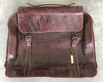 Vintage Giorgio Armani Brown Leather Crocodile Embossed Briefcase Weekender