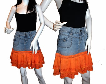 ON SALE!  Denim Skirt (7-8) Orange Ruffles , Altered Denim Skirt, Upcycled Jean Skirt, Eco-Friendly Clothing