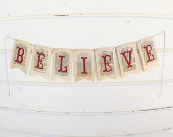 Christmas Banner - Christmas Decorations - Holiday Decor - Believe Banner - Chritmas Carrol Banner - Vintage Christmas Banner -Holiday decor