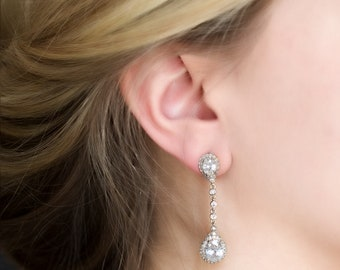 Wedding Jewelry Bridal Earrings Long Earrings Silver Jewelry White Gold Earrings Bridal Jewelry Bridal Accessories Bridesmaid Jewelry E346-S