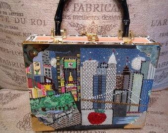 Sequined Braciano cigar box New York Big Apple handbag