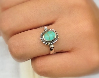 Sterling silver turquoise ring - boho turquoise ring - bohemian ring - promise ring - December birthstone - gypsy ring - dainty ring