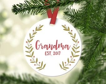 Grandma Gift Pregnancy Announcement Grandma Christmas Ornament New Grandma Gift Grandma Ornament Grandma Pregnancy Reveal Grandma Red Fun