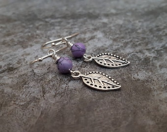 Silver Leaf Lavender Turquoise Earrings, Antique Silver Leaf Earrings, Purple Gemstone Earrings, Rustic Leaf Jewelry, Gift for her, Everyday