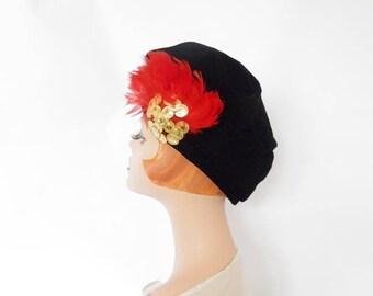 Vintage velvet tilt hat, 1960s black Adolfo with red feathers, excellent