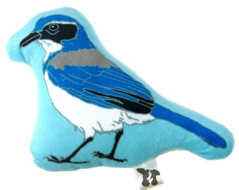 Scrub Jay Mini-Pillow, Stuffie, Plush, Super Soft, Baby Gift, Bird Lover Gift
