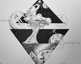 Space Treehouse Digital Print