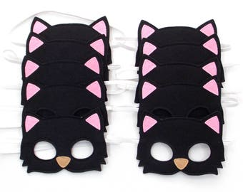 Black Cat Masks - Party Pack - 10 Masks - Kid's Mask - Black Cat - Mask - Dress Up - Play - Costume - Party Favor - Dress Up - Halloween Cat