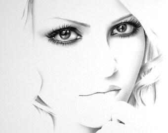 Self Portrait  Minimalism Fine Art  Pencil Drawing Portrait Signed Print