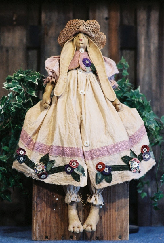 Petunia - Mailed Cloth Doll Pattern  24in Pretty Country Girl Bunny Rabbit