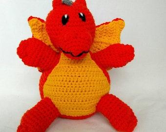 Orange Dragon Stuffed Animal - Dragon - With Wings - Baby Gift - Newborn - Dragon Lover - Gift - Machine Washable - Handmade Crochet