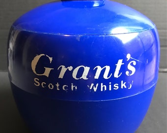 Vintage Retro Embee Blue Grants Scotch Whiskey Ice Bucket