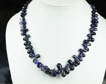 13 inch long strand smooth tear IOLITE drop beads 7 x 5 -- 16 x 8 mm
