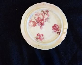 Vintage Floral Smoking Plate Ashtray Tobacciana Collectible