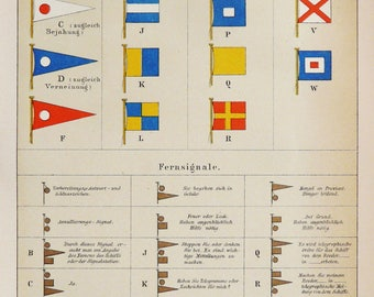 1895 Antique lithograph of MARITIME SIGNAL FLAGS. Naval Flags. Navigation. 123 years old chart