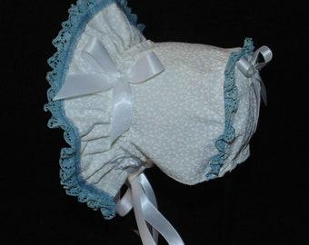 White with Williamsburg Blue Trim Baby Bonnet
