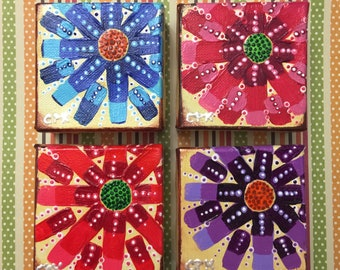"""ABSTRACT FLOWERS - set of 4 minis- Original Acrylic Painting - 3"""" X 3"""" x 1.5"""""""
