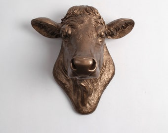 Cow Head Decor White Faux Taxidermy - The Bessie in Bronze - Cow Head Wall Mount - Farm Animal Decor - Cattle Decor - Farmhouse Wall Decor