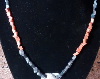 """25 Rust and gray 21"""" shell and bead necklace"""