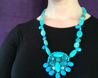 Turquoise Embroidered Statement Necklace