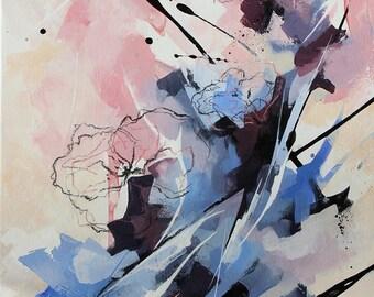 Fleurs abstraites à l'acrylique, Tableau abstrait contemporain unique, peinture moderne sur toile, oeuvre d'art originale