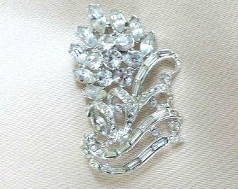 Clear Rhinestone Flower Brooch Vintage Rhodium Plated