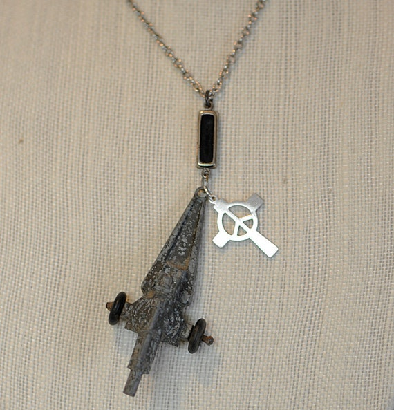 "Vintage OOAK STEAMPUNK ASSEMBLAGE Necklace.. ""War & Peace"" Midgetoy Cannon And Peace Symbol"