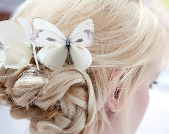 Bridal Butterfly Hair Comb with Swarovski Crystals. Cream/Ivory.