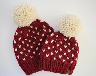 Mommy and Me Hats // Hats for Kids // Toddler Hats for Girls // Fair Isle Hats // Christmas Hats // Valentine's Day