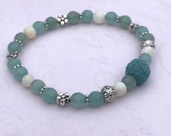 Aqua Lava Bead Bracelet