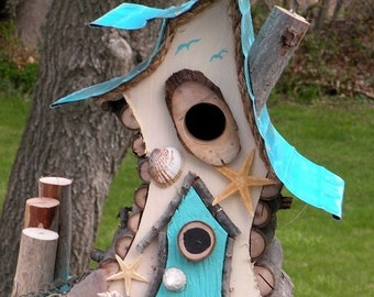 bird house, birdhouse with insulated metal roof, nautical birdhouse, beach art, functional birdhouse