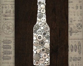 Kitchen Decor Beer Wall Hanging Wooden Sign Beer Decor Garage Art Nuts and Bolts Nails Mosaic Beer Bottle Art Button Art Beer Wall Art