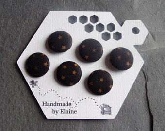 Fabric Covered Buttons - 6 x 19mm Buttons, Handmade Button, Midnight Sky Black Tan Bronze Dark Mustard Yellow Star Space Astra Buttons, 2488