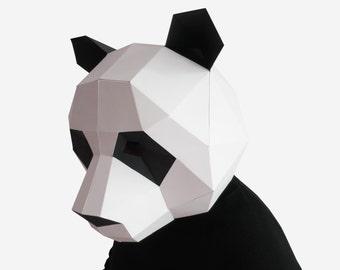 Panda Mask, DIY printable Animal Head, Instant Pdf download, DIY New Year Mask, Printable Mask, 3D Pattern, Polygon Masks