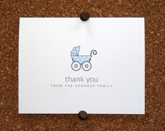Baby Carriage Thank You Cards. Baby Shower Stationery. Baby Thank Yous. Personalized. Pram. (Set of 10)