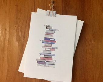 Wobbly Books Watercolor Greeting Cards