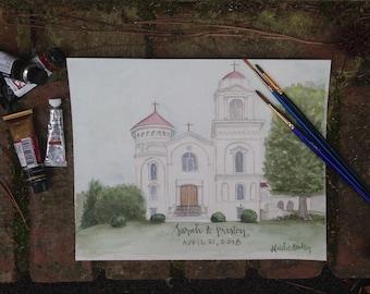 Venue Watercolor Painting, Unique Gift, Custom Venue Illustration, Business Historic Building Watercolor Painting, Venue Painting