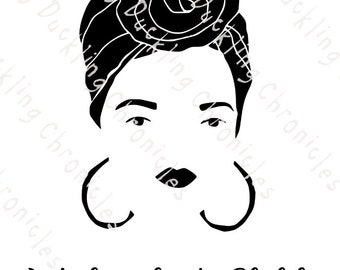 Woman with Turban SVG, PNG, PRINTABLE, African American Woman svg, Latina svg, Ethnic Woman, Vinyl Cut File, Sublimation, Cricut, Silhouette
