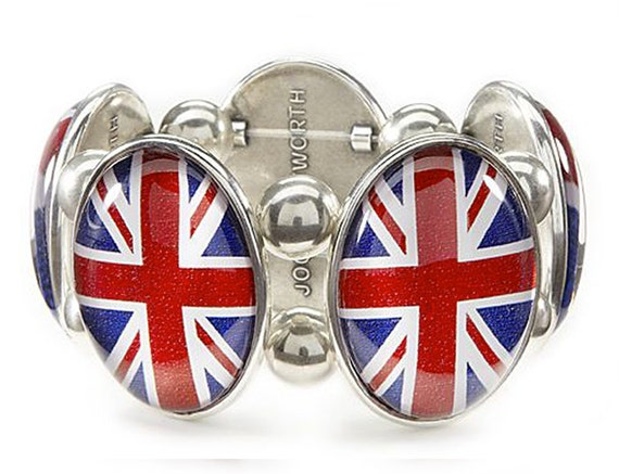 Union Jack Five-Cameo Stretch Bracelet in Silver
