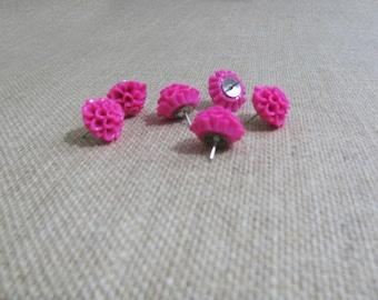 Set of 6 Bright Pink, Raspberry Dahlia Flower push pins, thumb tacks