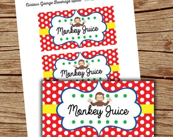 Curious george baby shower invitations with matching envelopes curious george party monkey juice tags curious george printables instant download curious filmwisefo Image collections