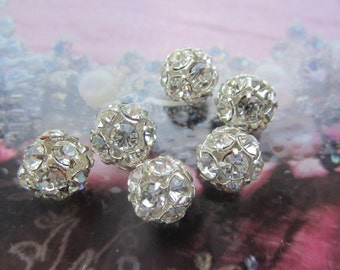 Vintage Rhinestone Ball Beads Crystal And Silver 10mm 6Pcs.