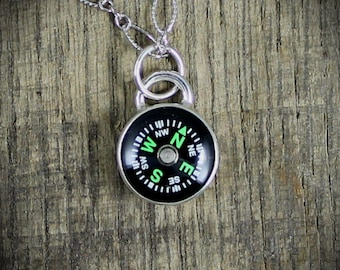 Working Compass Silver Pendant Necklace - MADE TO ORDER