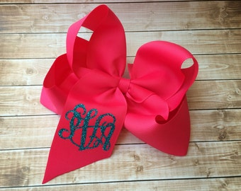 Glitter Monogram Hair Bow, Monogrammed gifts, Big Cheer Bows, Hair Bows for Girls, Boutique Hair Bows, Hair Accessory