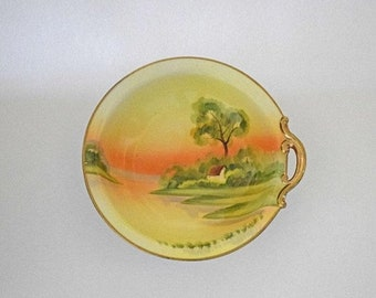 "Memorial Day Sale Hand Painted Morimura Bros Nippon Bowl with Single Handle and Green Wreath Mark with ""M"" in the Center"
