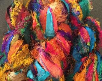 100 grams 1 skeins recycled silk   ribbon  knitting crochet craft embellishment yarn multicolor rainbow mix
