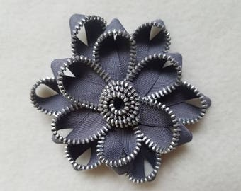 Recycled Zipper Flower Lapel Pin Brooch, gray with silver teeth
