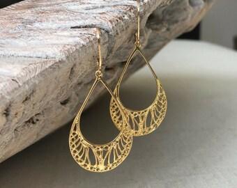 Gold Filigree Hoop Earrings