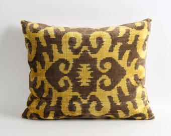 Silk velvet ikat pillow cover 16x20 yellow brown lumbar velvet ikat pillow eclectic boho home decor